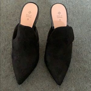 Call It Spring Black Suede Heeled Mules